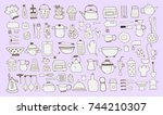 kitchen icon doodle set | Shutterstock .eps vector #744210307