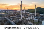 aerial view oil refinery... | Shutterstock . vector #744213277