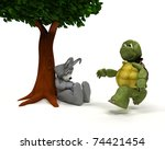 Stock photo  d render of a tortoise and hare race metaphor 74421454