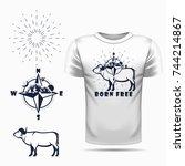 vector african buffalo... | Shutterstock .eps vector #744214867