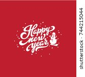 happy new year text lettering...   Shutterstock .eps vector #744215044