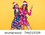 christmas new year. two young... | Shutterstock . vector #744215239