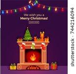 christmas fireplace room... | Shutterstock .eps vector #744216094