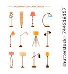 set of colorful cartoon floor... | Shutterstock .eps vector #744216157