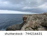 typical coast of mallorca ... | Shutterstock . vector #744216631