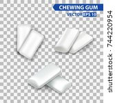 white mint chewing gum set for... | Shutterstock .eps vector #744220954