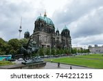 view of berlin cathedral ... | Shutterstock . vector #744221215