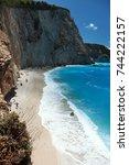 porto katsiki beach  lefkada ... | Shutterstock . vector #744222157