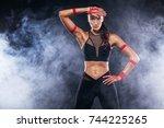sporty beautiful afro american...   Shutterstock . vector #744225265