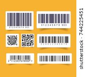 barcode label set sticker | Shutterstock .eps vector #744225451