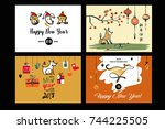 set image with symbol of year... | Shutterstock .eps vector #744225505
