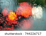 rain abstract background.... | Shutterstock . vector #744226717