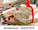 nougat  christmas cake ... | Shutterstock . vector #744227575