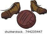 vintage soccer ball and boots | Shutterstock .eps vector #744235447