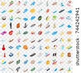100 seawind icons set in... | Shutterstock . vector #744242941