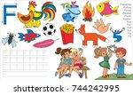 letter f. dot to dot...   Shutterstock .eps vector #744242995