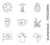 landmarks of brazil icon set....   Shutterstock . vector #744243844