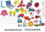 letter l. dot to dot... | Shutterstock .eps vector #744244594