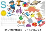letter s. dot to dot... | Shutterstock .eps vector #744246715