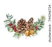 watercolor winter floral... | Shutterstock . vector #744246724