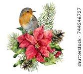 watercolor robin  poinsettia... | Shutterstock . vector #744246727
