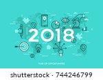 infographic concept  2018  ... | Shutterstock .eps vector #744246799