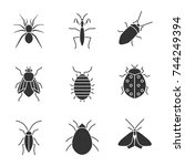 insects glyph icons set. spider ... | Shutterstock .eps vector #744249394