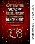 2018 happy new year background... | Shutterstock .eps vector #744252871