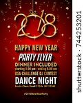 2018 happy new year background... | Shutterstock .eps vector #744253201