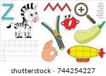 letter z. dot to dot... | Shutterstock .eps vector #744254227