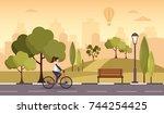 city autumn park vector... | Shutterstock .eps vector #744254425