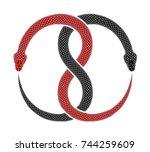 ouroboros symbol tattoo design. ... | Shutterstock . vector #744259609