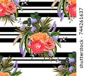 vintage seamless pattern with... | Shutterstock .eps vector #744261637