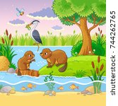 vector set with animals and... | Shutterstock .eps vector #744262765