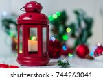 red christmas lantern with... | Shutterstock . vector #744263041