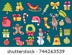 christmas cartoon elements. set ... | Shutterstock .eps vector #744263539