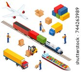 isometric logistics composition ... | Shutterstock .eps vector #744263989
