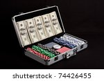 poker playing set and us dollars | Shutterstock . vector #74426455