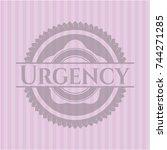 urgency pink emblem. vintage. | Shutterstock .eps vector #744271285