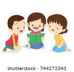 kids reading book boy and girl... | Shutterstock .eps vector #744272341