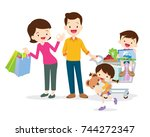 family shopping characters... | Shutterstock .eps vector #744272347