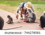 Stock photo travel selfie with funny monkeys young man takes a picture of wild animals spectacled langurs 744278581