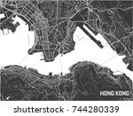 minimalistic hong kong city map ... | Shutterstock .eps vector #744280339