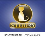 shiny badge with cat icon and...   Shutterstock .eps vector #744281191