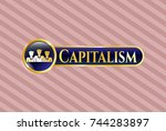 golden badge with business... | Shutterstock .eps vector #744283897
