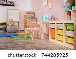beautiful interior of game room ... | Shutterstock . vector #744285925