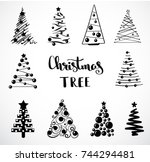 christmas collection of... | Shutterstock .eps vector #744294481