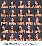 different emotions collage. set ... | Shutterstock . vector #744296221