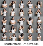 Small photo of Set of young girl emotions. Casual brunette woman grimacing and gesturing on camera at gray studio background. Happiness, fear, surprise, disgust. Positive and negative feelings