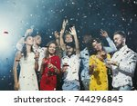 party time  happy young people... | Shutterstock . vector #744296845